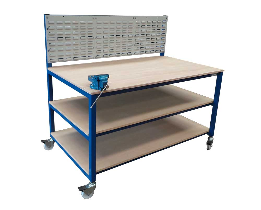 Workbench on wheels with louvre panels & vice