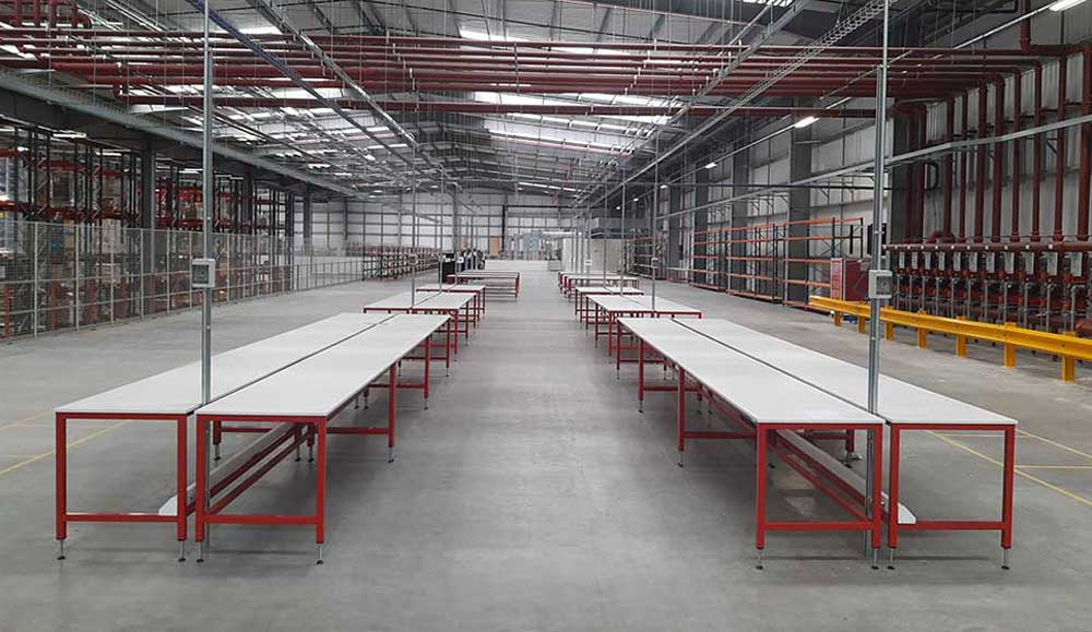 warehouse packing benches