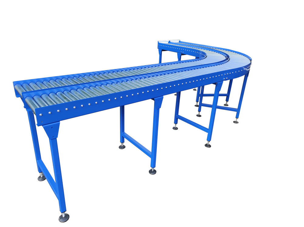 Twin lane gravity roller conveyor with bend
