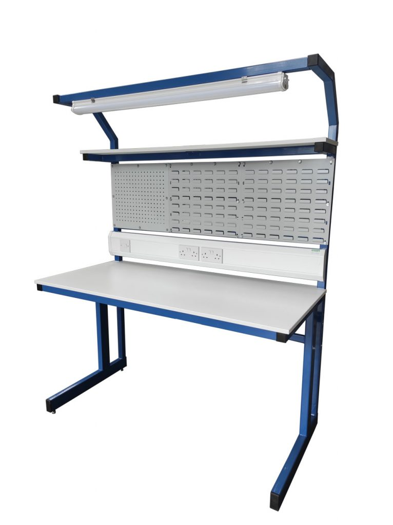 cantilever workbench with overhead light