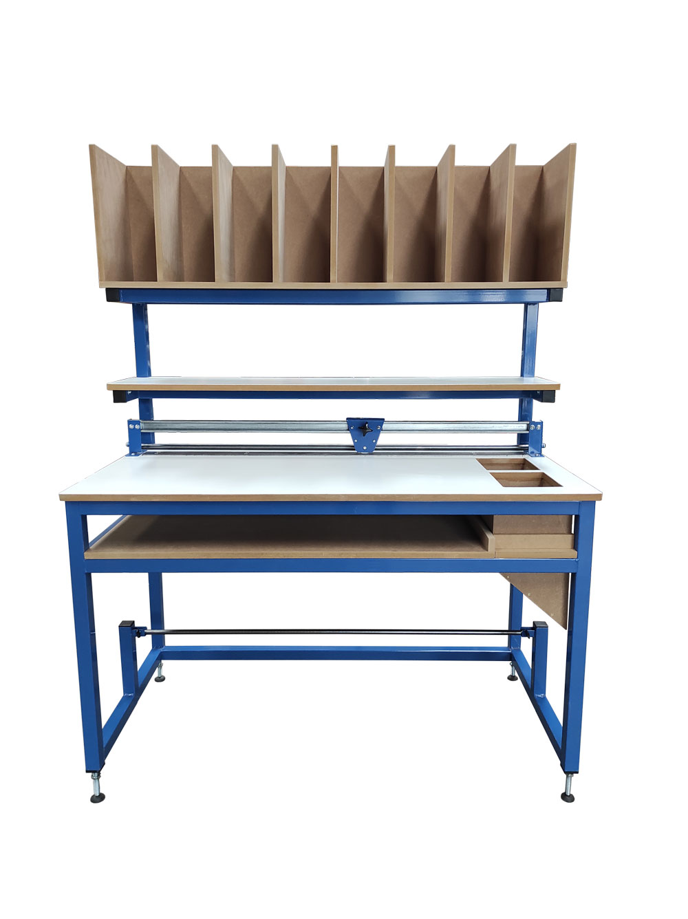 Packing bench with dividers & cutter
