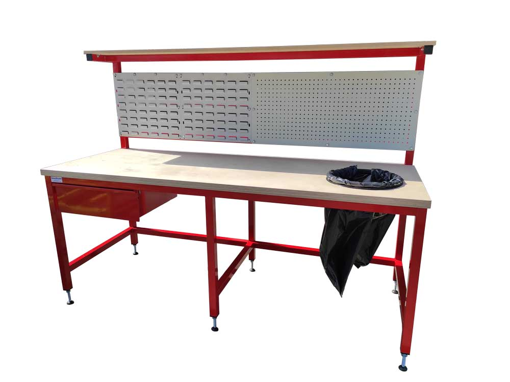 Workbench with integrated bin