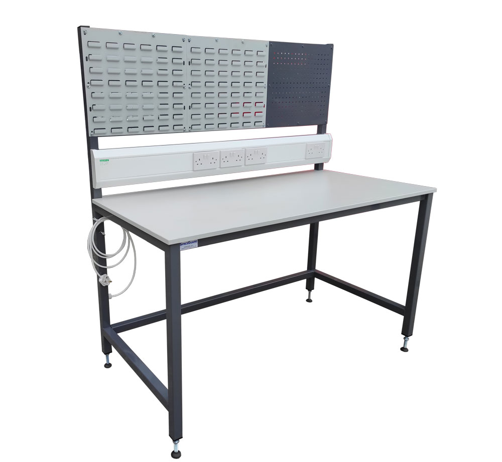 Workbench with louvre panels & sockets