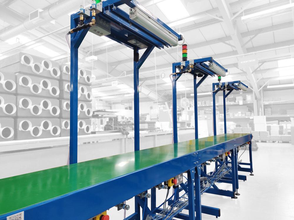 Belt conveyor process line
