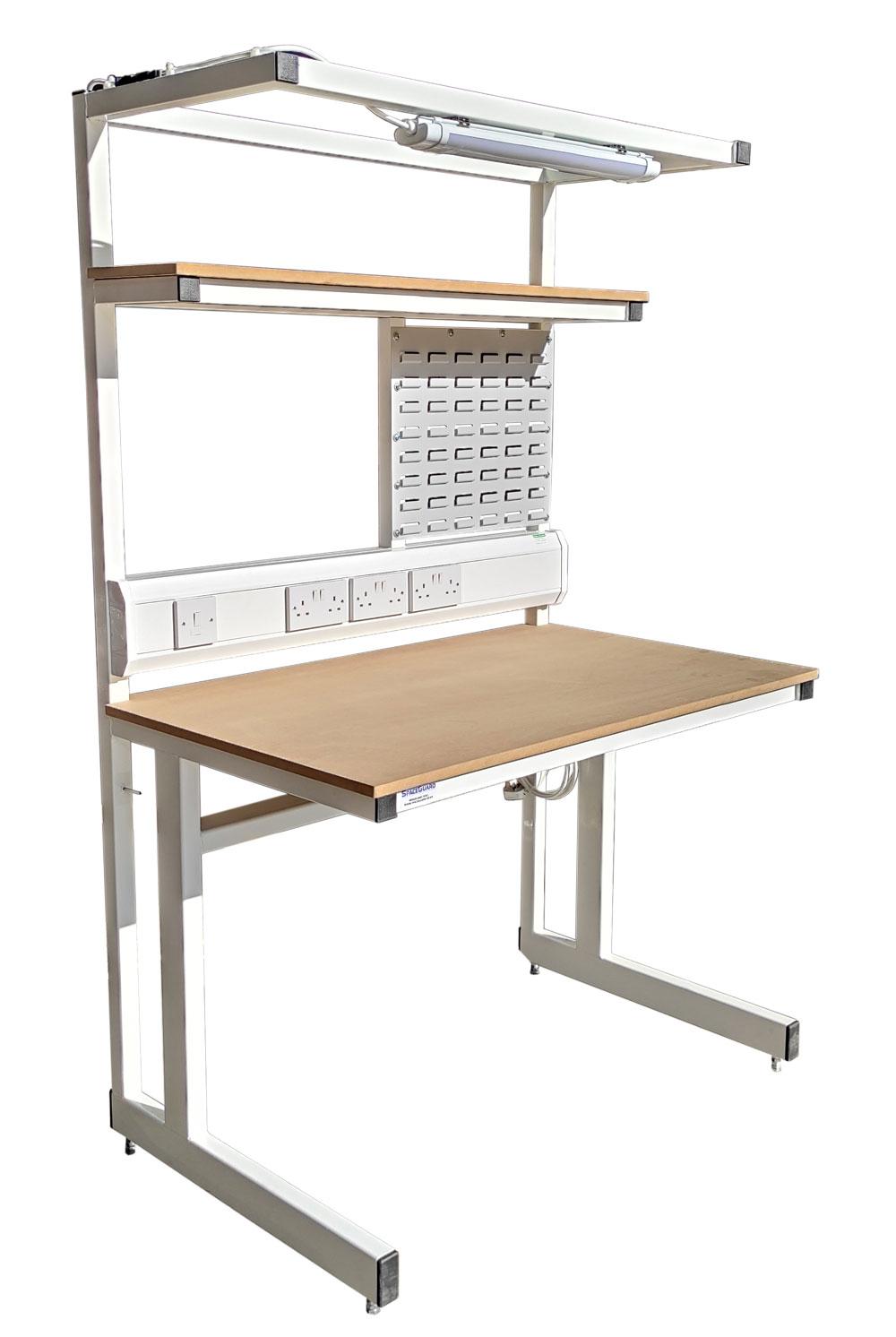 Workbench with shelves, louvre panel, & lighting