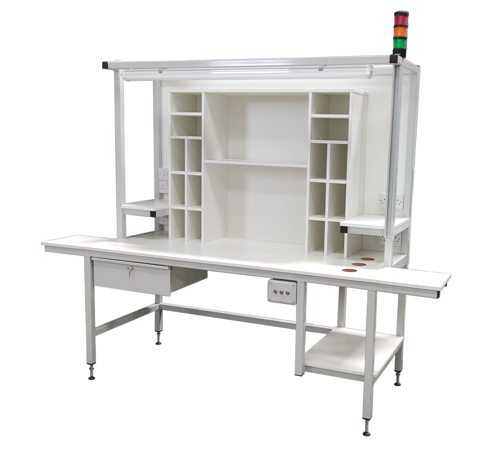 Workstation with storage & andon signal light