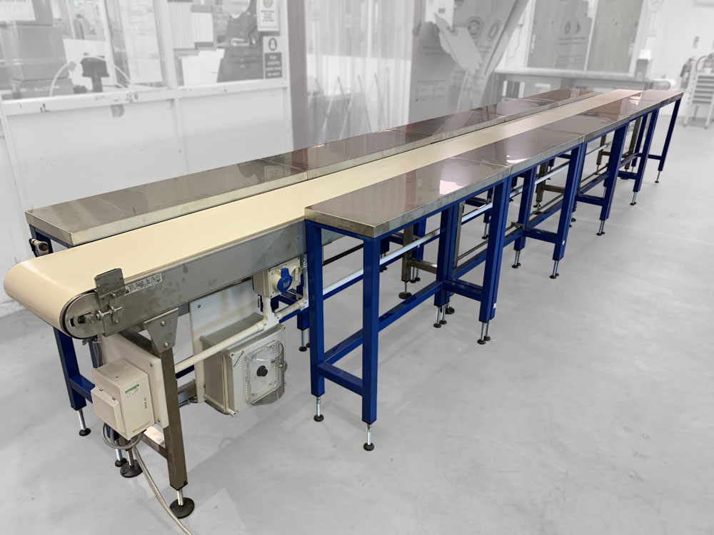 Stainless steel conveyor with side tables