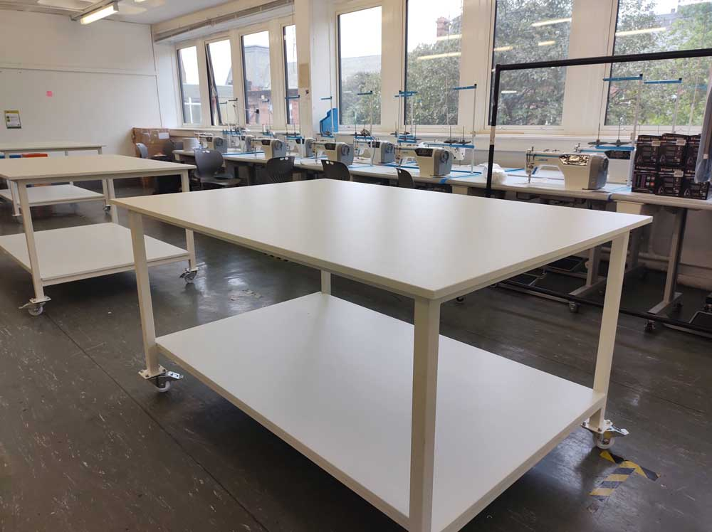 White cutting table on wheels laminate top (#18129)